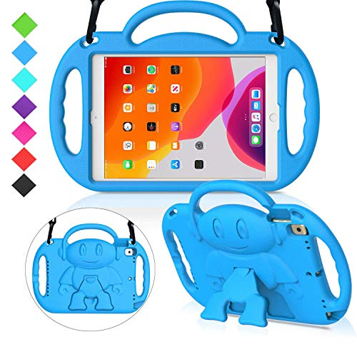 MENZO Kids Case for New iPad 10.2' 7th Generation 2019, Light Weight Shockproof Shoulder Strap Handle Stand Case for New iPad 10.2-Inch 2019 Released (Latest Model) - Blue