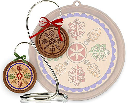 Red Tail Crafters Mighty Oak 3in/4in Hardwood Ornament PA Dutch Laser-Engraved Hex Sign