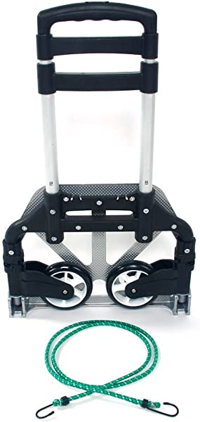 Portable Folding Collapsible Aluminum Cart Dolly With Rope Push Truck Trolley 165 Lbs Black