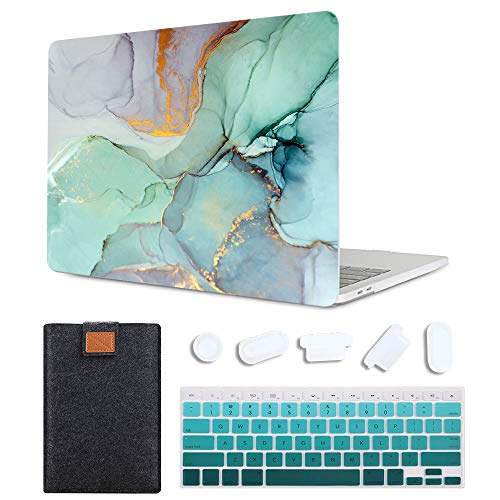 MAITTAO MacBook Pro 15 inch Case Model A1286 with CD-ROM 2010-2012 Released, Plastic Pattern Hard Shell & Laptop Sleeve & Gradient Keyboard Cover 4 in 1 Bundle, Creative Marble 6