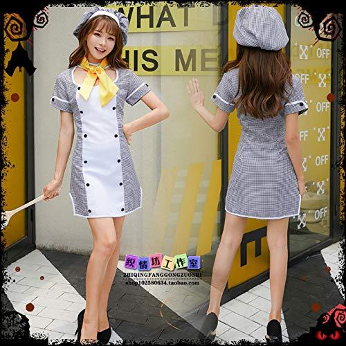 WSJDE Cosplay Beauty Küche Küche Lady Kostüm Dienstmädchen Kostüm Dienstmädchen Kostüm Restaurant Kellner Arbeitskleidung Set XL