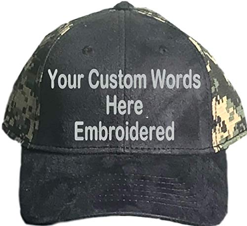 Custom Hat, Embroidered. Your Own Text. Adjustable Back. Curved Bill (Canvas Black/Dark Green Digital Camo)