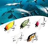 5PCS Mighty Bite Fishing Lures, 3D Freshwater Cranked Bass Fishing Swimbaits, Plastic Realistic Fishing Lures, Bionic Fishing Lures for Freshwater Brine, Floating Artificial Hard Bait for Fishing