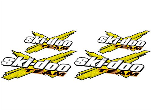SKI-DOO Team 3DX / YELLOW / 4 PACK Vinyl Vehicle Snowmobile Winter Graphics Decal Stickers