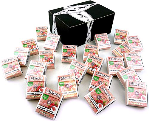 Läkerol Raspberry Lemongrass Sugarfree Pastilles, 0.8 oz Packages in a BlackTie Box (Pack of 24)