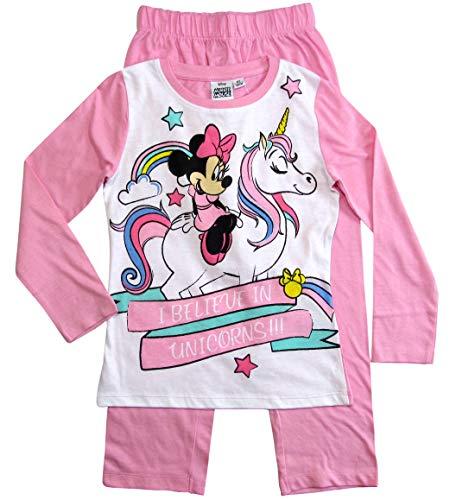 Minnie Mouse Schlafanzug Mädchen Pyjama Lang Einhorn (Rosa-Weiß Einhorn, 128)