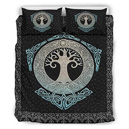 DAMKELLY Store Couvre-lit motif arbre viking de vie doux et coloré – Couvre-lit 1 housse de couette et 2 taies d'oreiller – Lavable en machine – Blanc 229 x 229 cm