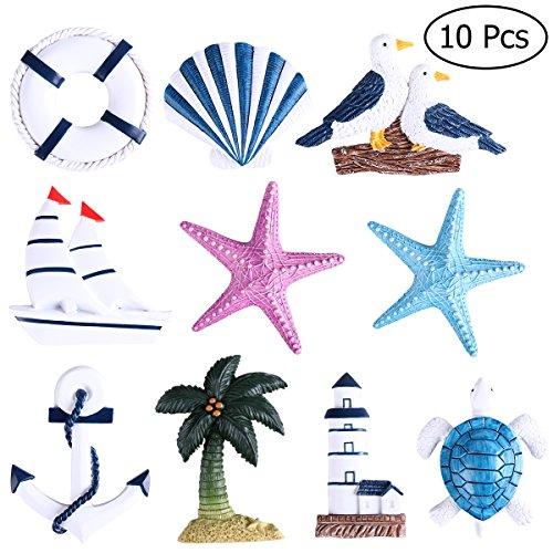 WINOMO 10pcs Imánes Del Refrigerador Nevera Lindo Estilo Mediterráneo Náutico Decoración Ornamentos Colgantes