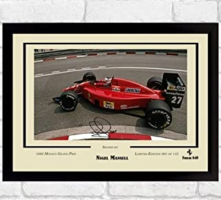 S&E DESING Nigel Mansell Signed Photo Picture Autograph Formula 1 Framed Print