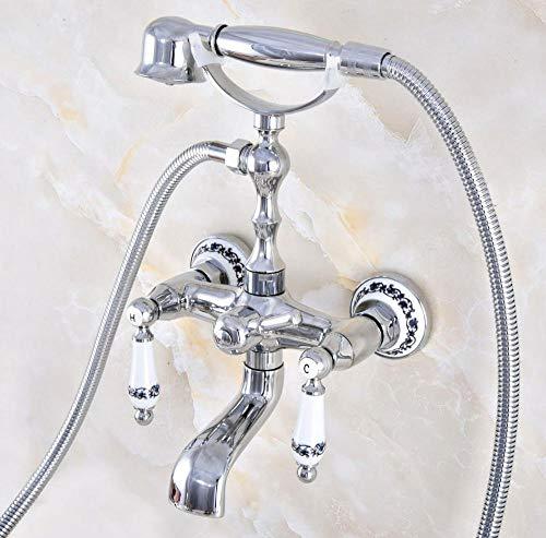 Hermanhao Polierter Chrom Messing Doppelkeramikgriff Wandmontage Cleopatra Füße Badewanne Wasserhahn Wasserhahn mit Dusche Mt869