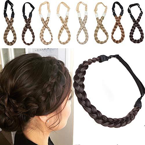 Extensions Haarband geflochtene Braids Haar Haarverlängerung verstellbare Stirnband elastische Stretch Haarteil Beauty-Accessoire für Frauen Dunkelbraun S-1.5cm(0.6