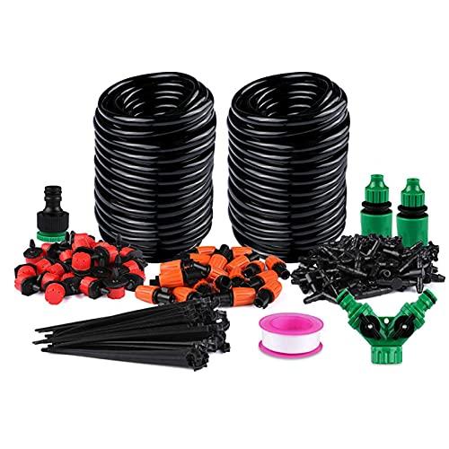 surfsexy Kit de riego micro por goteo, sistema de riego de jardín con boquilla ajustable y gotero automático para riego de plantas de patio para invernadero