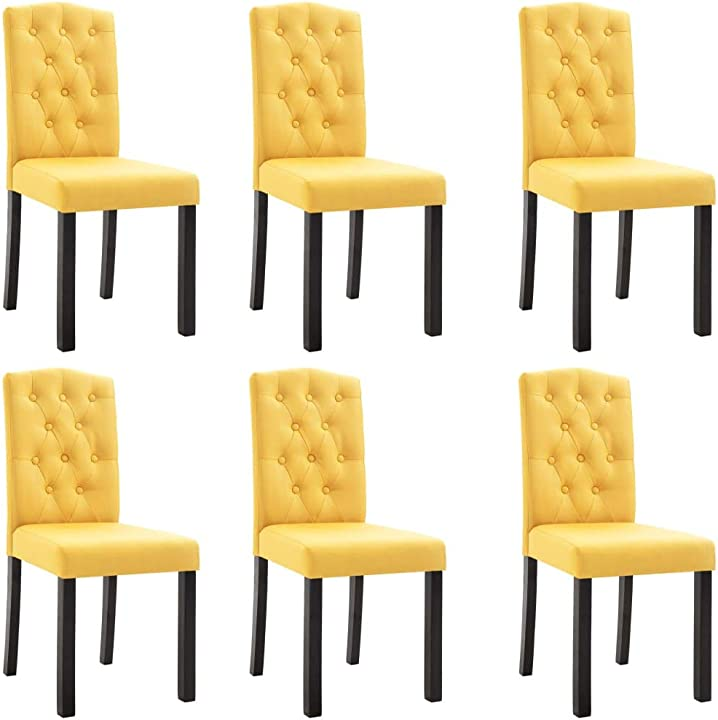 Sedie da pranzo -6 pezzi -  stile moderno eleganti morbide imbottite arredi legno massello gialle 276989