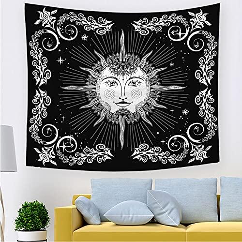 Tapiz de sol y luna tapiz de estrella de sol ardiente Hippie tapiz místico blanco y negro manta para colgar en la pared A4 180x230cm