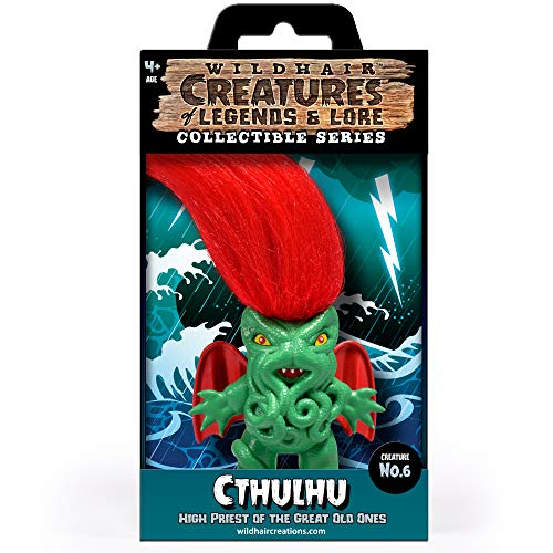 """WILD HAIR CREATIONS' Cthulhu, from The Creatures of Legends and Lore, 5.5"""" Collectible Vinyl Toy/Novelty Figure with Troll Hair and Colorful Packaging/Creature Fun Facts."""