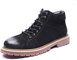 Xujw-shoes store, 2019 Mens New Lace-up Flats Mens Classic Motorcycle Combat Boots High Top for Men Classic Fashion Leather Non-Slip Round Toe Lug Sole Classic Outdoor Vegan Flat Wear Resistant