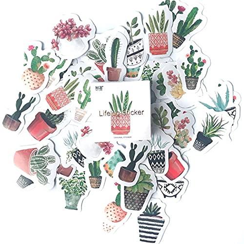 PMSMT 45 unids/Set Bonitas Pegatinas de Plantas de Cactus Verdes planificador Diario álbum de Recortes decoración DIY Pegatina Adhesiva