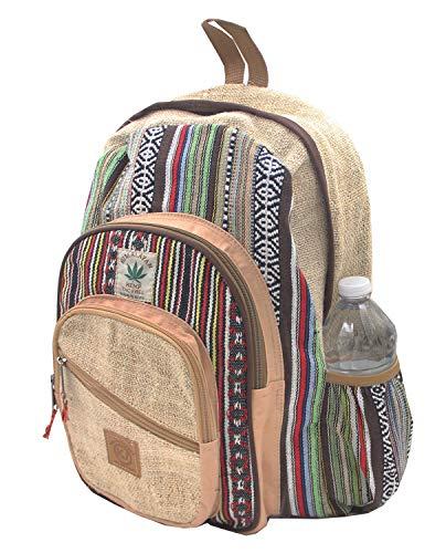 KayJayStyles Nepal-Rucksack, handgefertigt, groß, mehrere Taschen, Hanf, BKPK-2 (Blau) - SG_B01KIW6FWG_US