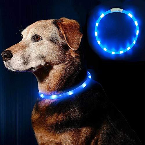 LEANKING Hundehalsband LED Leuchthalsband USB wiederaufladbar Längenverstellbar Klassische Halsbänder (Blau)
