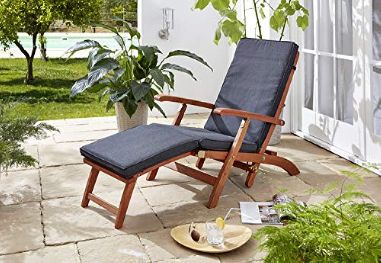 GRASEKAMP Qualitt seit 1972 Auflage Anthrazit zu Deckchair Santos 174x51x6cm Gartenliege Liegestuhl Sonnenliege Relaxliege