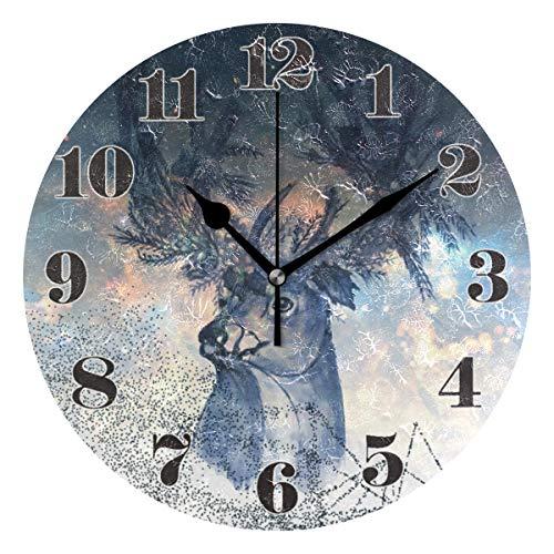 Mnsruu runde Wanduhr, stille, Nicht tickende mysteriöse Elche im Sternenhimmel-Kunst-Uhr für das Hauptwohnzimmer-Schlafzimmer-Büro einfach zu lesen