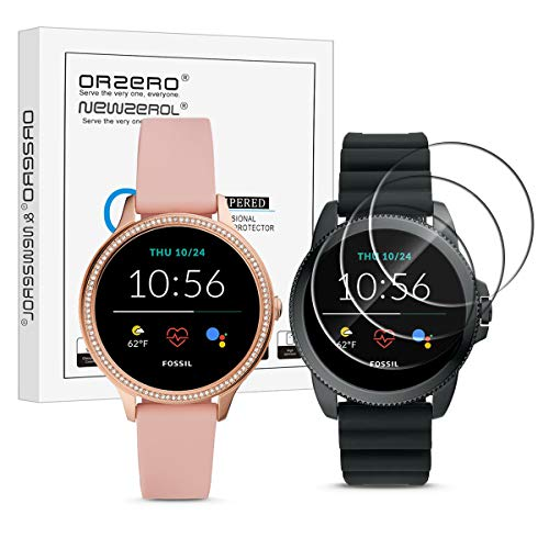 (3 Pack) Orzero Compatible for Fossil Gen 5E Touchscreen Smartwatch Tempered Glass Screen Protector, 2.5D Arc Edges 9 Hardness High Definition Anti-Scratch Bubble-Free (Lifetime Replacement)