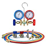 AC Manifold Gauge Set, AC Gauges for R134a R12 R22 R502 Refrigerant, Car AC Gauge Set with 5FT Hoses Adapter Adjustable Couplers, Puncturing & Self Sealing R134A Can Tap Freon Charge Kit