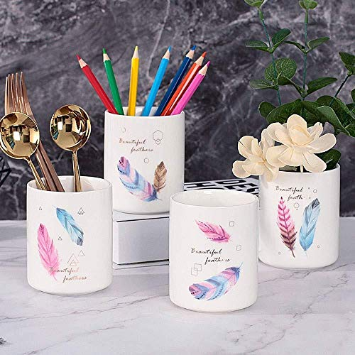 YYANG 4er Pack Keramikstifthalter Mit Farbiger Federdekoration Desk Stationery Supplies Organizer