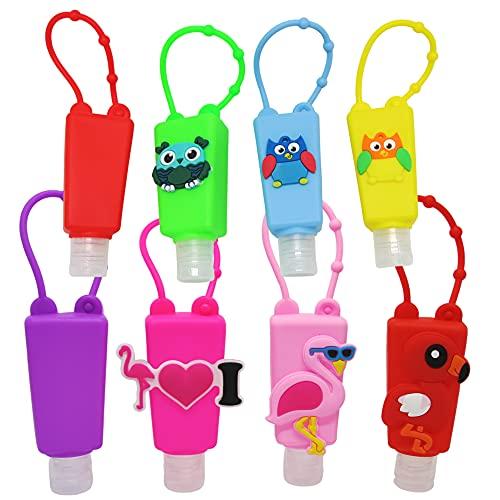 Set Bottiglie Ricaricabili per Bambini in plastica con custodia in silicone 30 ml (8pcs - Flamingos and Owls)