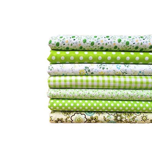 Baumwollstoff 50x50cm 7 Stück Baumwolltuch Textil Handwerk Stoffpakete Patchwork Stoff DIY Nähen Quilten Blumenmuster Grüne Serie
