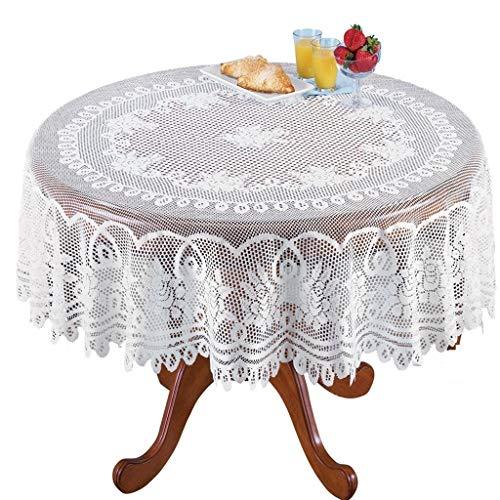 Spitze Tischdecke Weiß Spitze Tischtuch Tisch Cover in Spitzenauflage Vintage Bestickte Spitzeauflage für Hochzeit Vintage Rezeption Dekor Sommer Outdoor Party Boho Hochzeit Tisch Dekor (Weiß)