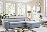 Cavadore Ecksofa Aniamo mit XL-Longchair rechts Eckcouch im modernen Design / Inkl. Verstellbarer Kopfteile / 270 x 80 x 165 / Hellblau - 2