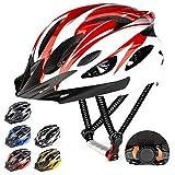 RaMokey Casco de bicicleta ligero, ajustable para bicicleta de montaña y carretera para adultos, 18 respiraderos con correa ajustable y visera desmontable para (rojo y blanco)