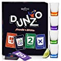 DUNZO - Party Version of Classic Card Game with 4 Unbreakable Glasses - Draw Two, Skip, Reverse, Get Loco - Fun Party Game & Funny Gifts - Card Games