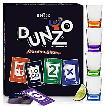 DUNZO - Party Version of Classic Card Game with 4 Unbreakable Shot Glasses - Draw Two Skip Reverse Get Loco - Fun Party Game & Funny Gifts - Card Games