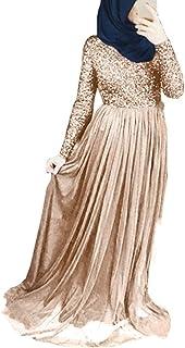 Donna Musulmano Vestito Islamico Dubai Arabo Lunga Abito Manica Lunga Vita Alta Maxi Robes Cerniera Colore Solido Kaftan