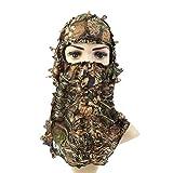 su-luoyu Taktische Kopfhaube Sturmhaube Motorrad Reiten Gesichtsmaske, Vollgesichtsmaske, Im Freien Jagd Tarnungskappe, Blätter Tarnung Protector Maske
