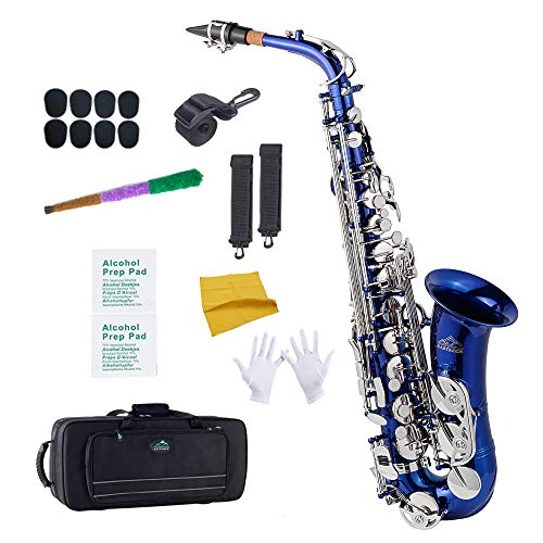 EastRock Students Beginners Alto Saxophone Blue Laquer Nickel Key E Flat with Hard Case,Mouthpiece,Mouthpiece Cushion Pads,Cleaning Cloth&Cleaning Rod,White Gloves,Alcohol Pads,Strap
