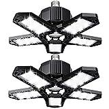 LED Garagenleuchte 120W 12000LM LED Deckenleuchten verformbar mit 5 verstellbaren Paneelen E26/E27 Werkstattbeleuchtung für Billard-Salon Kellerwerkstatt (2 Pack)