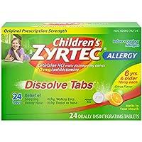 24-Count Children's Zyrtec 24 HR Dissolving Allergy Tablets, Cetirizine, Citrus Flavor
