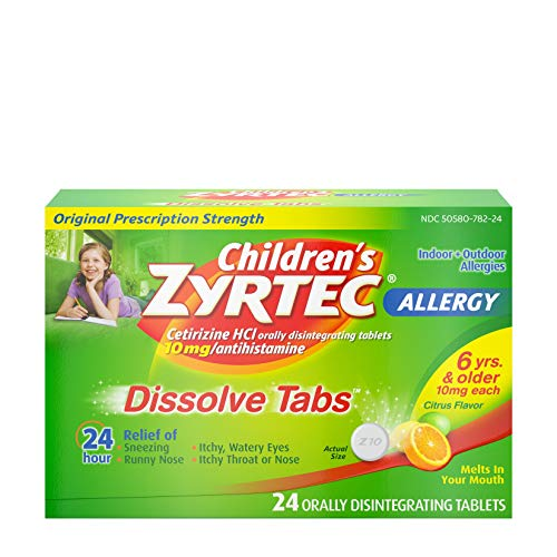 Children's Zyrtec 24 HR Dissolving Allergy Tablets, Cetirizine, Citrus Flavor, 24 ct