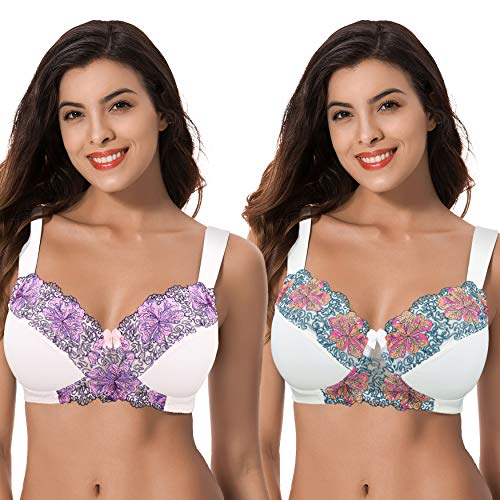Curve Muse Women's Plus Size Minimizer Wireless Unlined Bra with Embroidery Lace-2Pack-BUTTERMILK,Orchid TINT-34DDDD