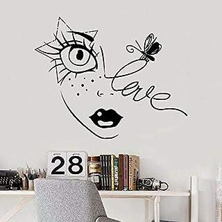 Bee Vinyl Sticker Lips Eyelashes Beauty Salon Girl Bedroom Makeup Decoration