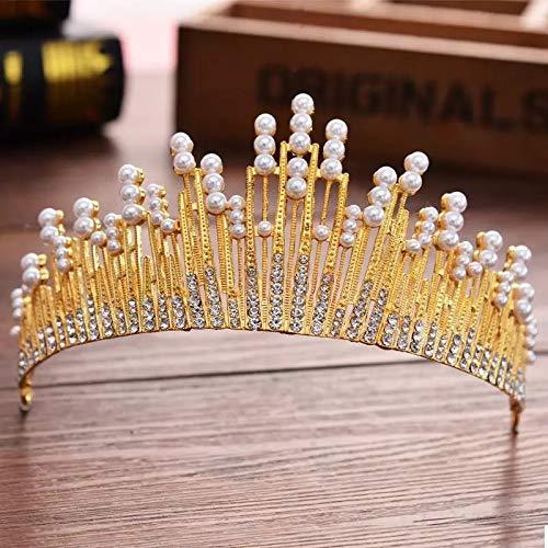 Europese Parel Water Diamant Goud Grote Kroon Bruiloft Jurk Accessoires Bruiloft Verjaardag Headdress