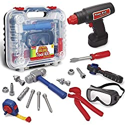 professional Rugged Kids Tools Set – 20 Toy Tools and Electronic Cordless Drills for Toddlers and Kids…