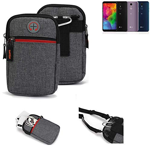 K-S-Trade® Gürtel-Tasche Für LG Electronics Q7 Alfa Handy-Tasche Schutz-hülle Grau Zusatzfächer 1x