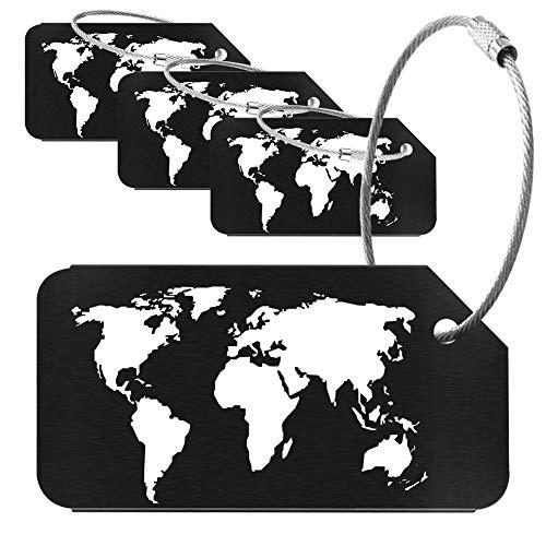Wilxaw 4 Pezzi Etichetta per Borsa da Viaggio, Modello di Mappa del Mondo Tag ID Valigia Aereo Porta Nome del Bagaglio, Etichetta Bagaglio in Lega di Alluminio (Nero)