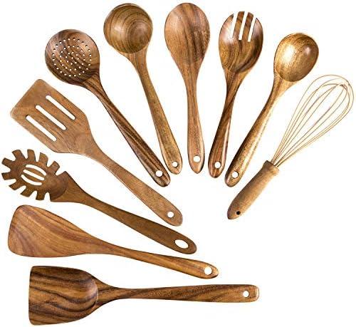 Wooden Cooking Utensils 10 Pack Kitchen Utensils Wooden Spoons for Cooking Teak Wooden Cooking product image