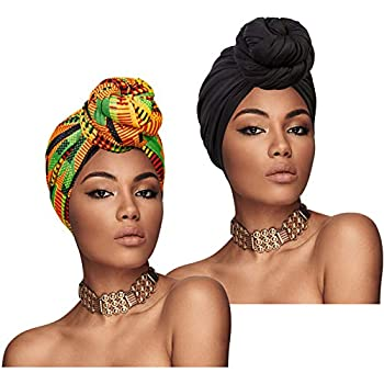 Chalier 2 Pieces Turban Head Wraps for Women African Head Scarf Long Soft Stretch Headwraps Black/Yellow
