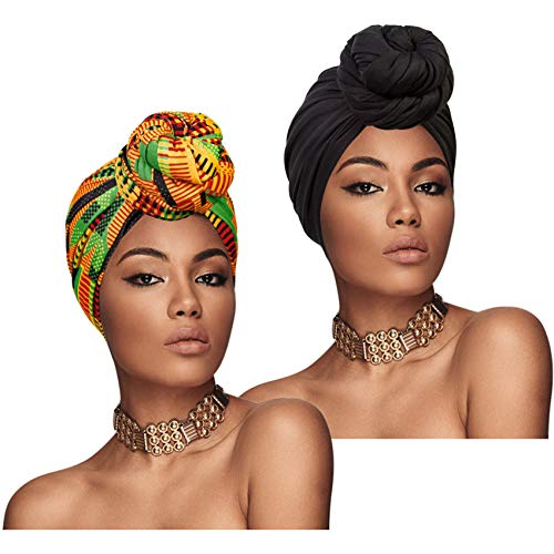 Chalier 2 Pieces Turban Head Wraps for Women African Head Scarf Long Soft Stretch Headwraps, Black/Yellow